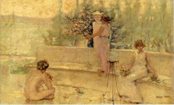 Lewis Three Figures in an Italian Garden